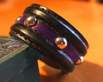 upcylced/recycled black & purple leather cuff with domed studs