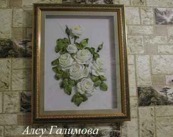 Wall Hanging Embroidery Picture White Garden Rose Floral Wall Art  3D Wall Decor