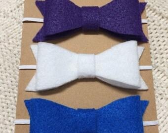 Set of three felt headbands-blue, purple, white.