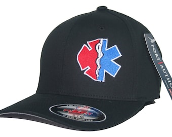 Fire Rescue Maltese Cross Star of Life Hat Flexfit Curved Bill Fitted Cap EMT Paramedic Medic Firefighter