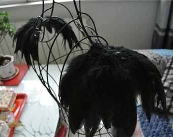 Handmade black feather epaulette pads Carnival feather shoulder shrug burning man festival epaulettes