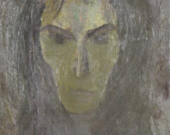 1950's expressionist oil painting portrait