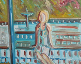 Contemporary expressionist oil painting portrait