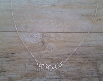 crystals necklace, hand made, sterling silver