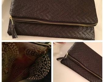 Faux Leather Fold over Clutch