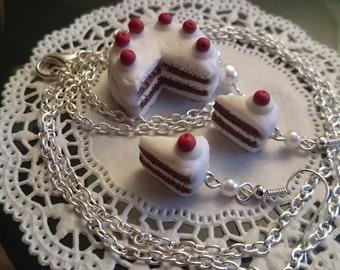 Kawaii jewelry set Choco cherry cake