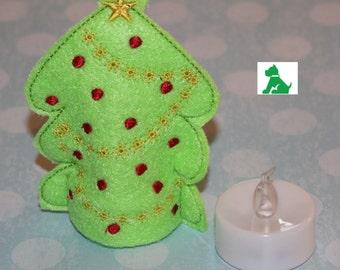 Christmas Tree - Embroidered Felt - Illuminated
