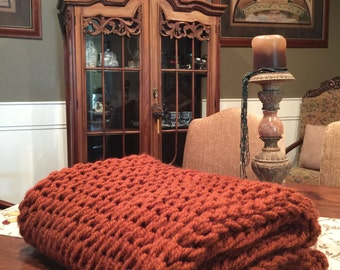 Chunky Knit Throw/Chunky Knit Blanket/Lap Throw