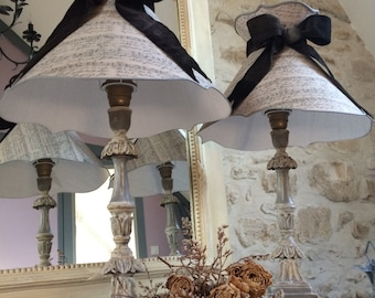 Pair of old lamps mellow taupe