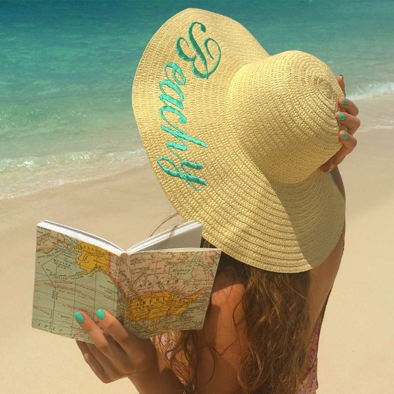 Embroidered Floppy Hat With Custom Sayings Wide By