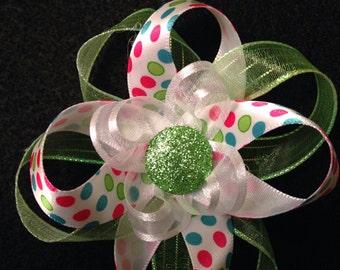 Colorful Polka Dots & Green Hair Bow