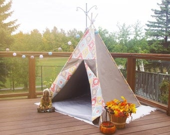 SALE! Dark Khaki and Folk Pattern Combo | Kid's Teepee | Tent | Tipi | Playhouse | Wigwam | Ready to Ship | Photo Prop | Decoration for Room