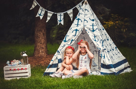 Nautical Navy Anchor and Stripes Kid's Teepee | Tent | Tipi | Playhouse | Wigwam | Photo Prop | Decor | Modern | Boys | Girls | Gift |Canada