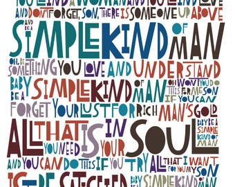 "LyricArt: Lynyrd Skynyrd ""Simple Man"" Signed & Numbered 16"" x 24"" Limited Edition Print"