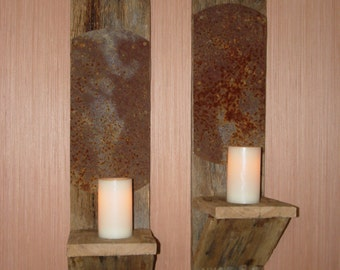 Reclaimed Oak Barn Wood Large Wall Sconces with Rusted Metal for Light Reflection (Pair) - Handmade, One of a Kind, Natural