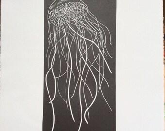 Jellyfish linocut relief print