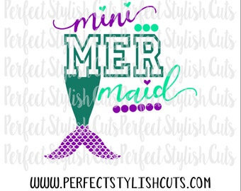 Mini Mermaid SVG, DXF, EPS, png Files for Cutting Machines Cameo or Cricut - Beach Svg, Pool Svg, Mermaid Life Svg, Swimming Svg, summer svg