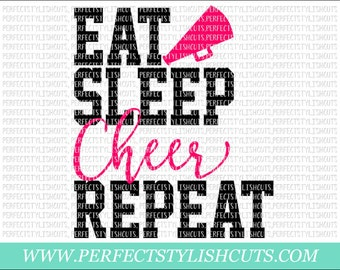 Eat, Sleep, Cheer, Repeat SVG, DXF, EPS, png Files for Cutting Machines Cameo or Cricut - Cheer Svg, Cheerleading Svg, Cheerleader Svg