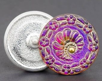 Czech Glass Button, Round Fern Purple/Pink Antiqued with Gold Paint, 32mm
