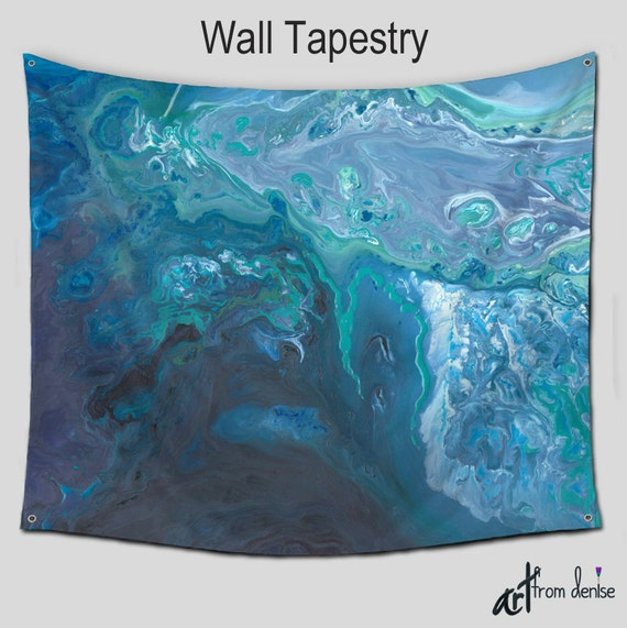 Teal Blue Gray Wall Tapestry Abstract Art Hanging Aqua