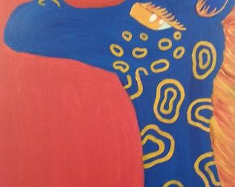 Blue Giraffe (Original) *Size 22 in x 28 in * Created by LB of Little Robot Heart