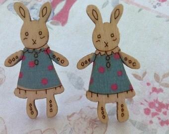 Blue bunny earrings