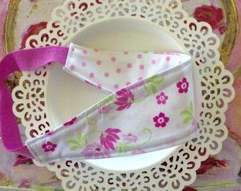 Pink and white reversible headband