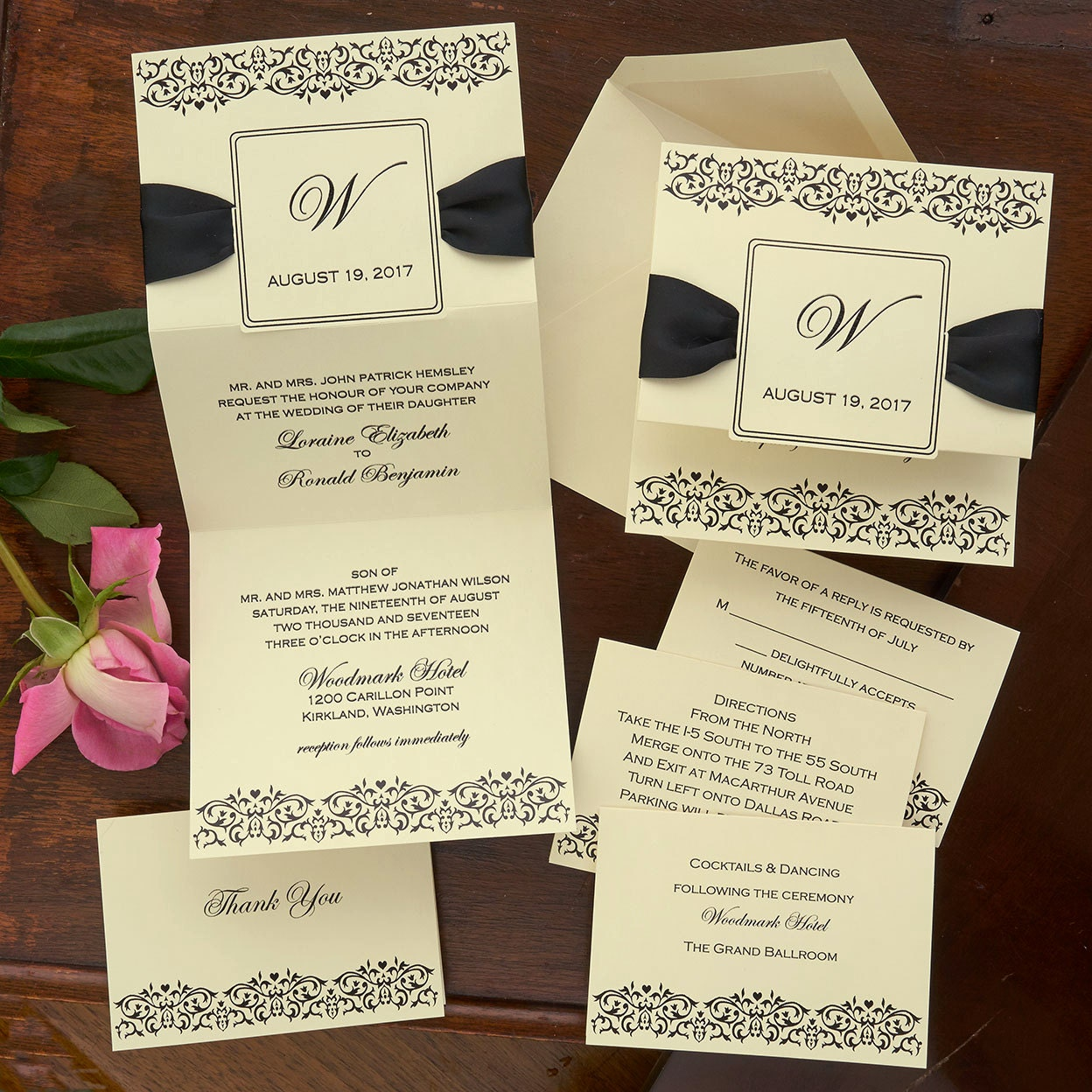 Damask Frame Wedding Invitation Set Thermography Wedding