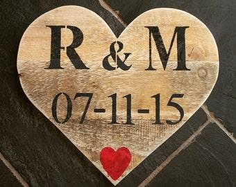 Personalised Rustic Heart - Wedding/Anniversary Gift