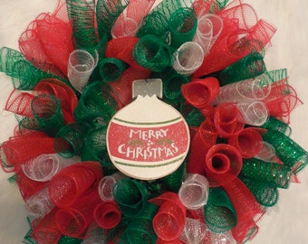 Mesh Christmas wreath, Christmas wreath, red and green christmas,bulb, bulb christmas wreath, holiday wreath, Merry christmas