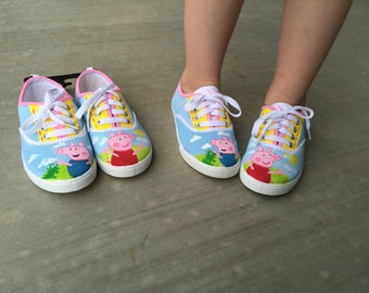 Custom, made to order Peppa pig inspired shoes, custom made to order,birthday gifts, halloween, shoes etc.
