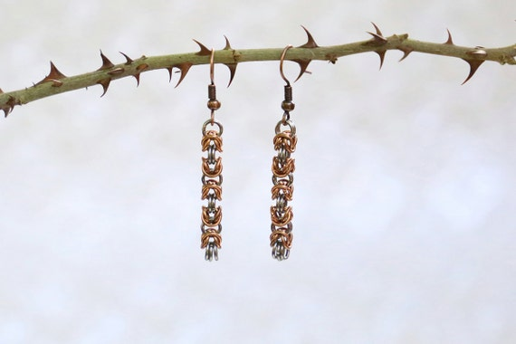 Copper and Stainless Steel - Byzantine - Chainmaille Earrings