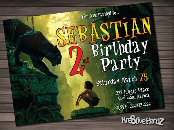Jungle Book Birthday Party Invitation customized printable invite for boy or girl of any age + Free Thank You Card