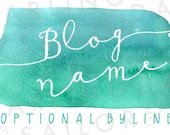 "Custom ""Sea Splash"" Turquoise Watercolor Header Design + Button + Signature // Blog Design // Blog Package // Wordpress // Blogger"