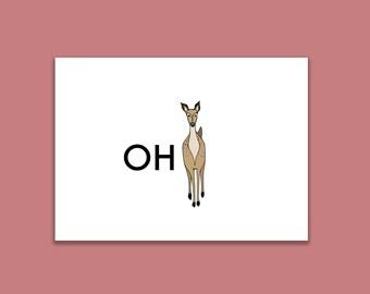 Oh Deer Postcard Print