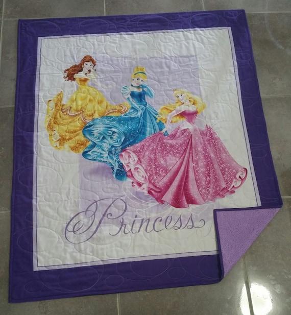 Princess Quilt, Girls Purple Quilt, Girls Bedding, Disney Quilt, Homemade Quilt