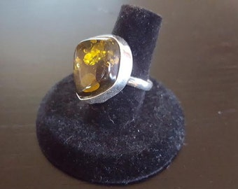 Large Amber and heavy Sterling Silver Ring- Size 7 1/2