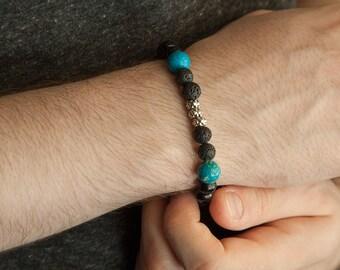 His Bracelet, Volcanic Lava Turquoise Black Wood Mens Bracelet, Mens Jewelry, Mens Bracelet, Gift for Men, Mens Gift, Bracelet for Him