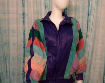 Vintage 80's bat wing color block suede leather jacket Small Medium