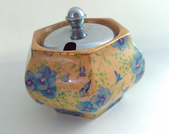 Vintage, Lancaster Pottery, 1940s, jam pot, jelly pot, preserves pot, ceramic jam pot, pansy chintz, chintz pottery, pottery jam pot,