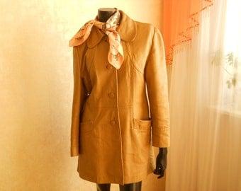 Size M. Vintage Leather Coat. Beige Leather Jacket. Womens Leather Blazer. Size Medium