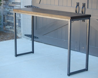 industrial console table with caster wheels by woodlandsteelworks. Black Bedroom Furniture Sets. Home Design Ideas