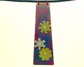 Titanium steampunk pendant