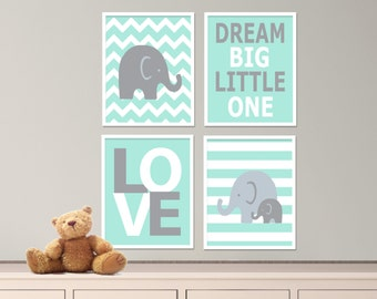 "Printable Elephant Nursery Art Print Set, Suits Baby Boy Nursery, Mint and Gray Nursery Decor, Set of 4 -8x10"" Digital Instant Download-S102"