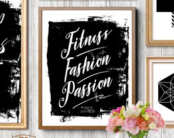 "Digital print fitness print fitness poster ""FITNESS FASHION PASSION"" print quote gym print gym poster gym art download fitness decor"