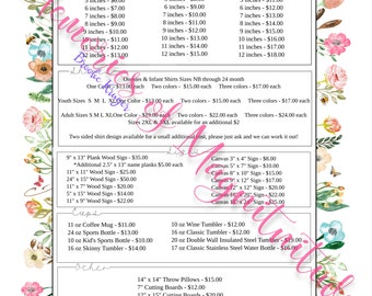 Garden Floral Price Sheet - Vinyl Business - Digital Download - Pricing List - Buisness Price List - Business Order Form - Pricing Form