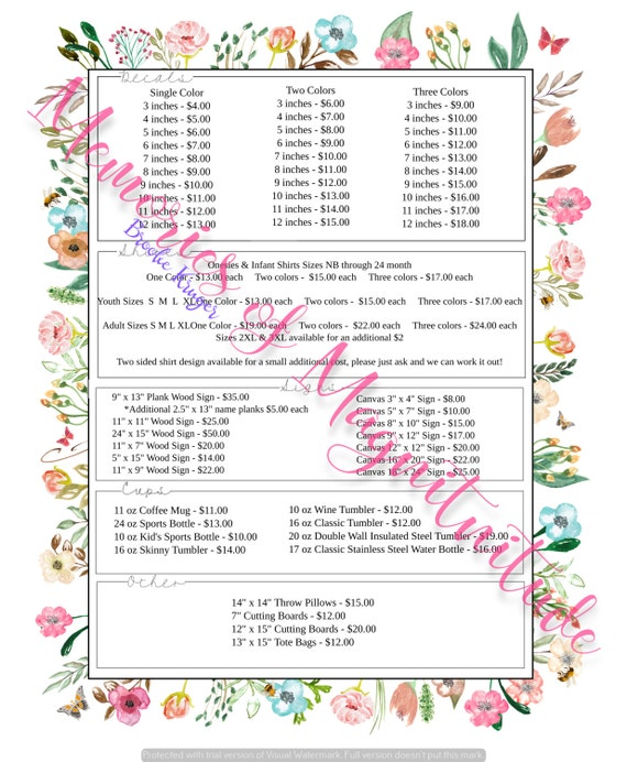 Garden Floral Price Sheet Vinyl Business Digital Download