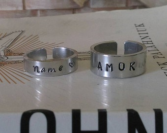 Handstamped Customizable Cuff Ring - AMOK - Name - BACON - Skull & Crossbones