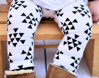 Black & White Triangles - Baby Leggings, Toddler Leggings, with Optional Knot Headband