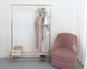 Copper Pipe Clothing Rail / Garment Rack / Clothes Storage With Two Tier Shoe Rack